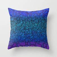 Purple Paisley - ombre paisley pattern in purple, blue and black. Throw Pillow by micklyn | Society6