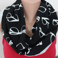 Eyeglasses Scarf Black and White Circle Scarf Glasses Print Scarf Eye Glasses Patterned Scarf Sun Glasses Scarf, Black Geometrical Scarves