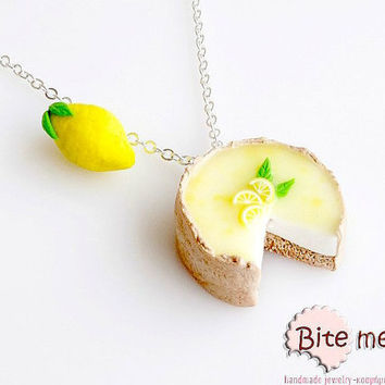 SCENTED Lemon Pie and Lemon Necklace Mini Food Jewelry, Miniature Food, Polymer Clay Charms, Food Jewelry, Kawaii Jewelry,Cute jewelry
