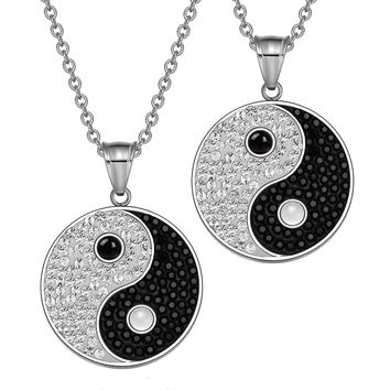 Yin Yang Love Couples Best Friends Amulets Austrian Crystals Simulated Onyx and White Cats Eye Necklaces