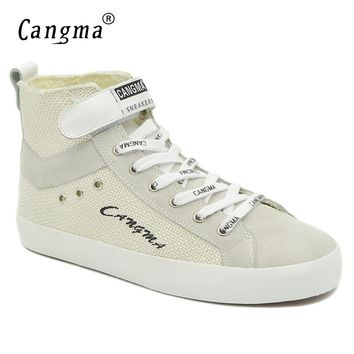 CANGMA Italian Brand Sneakers Women Boots Casual Shoes Autumn Woman's White Female Lace Up Footwear Hemp Shoes Ankle Boots