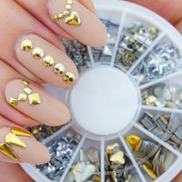 New 300Pcs Punk Rivet Nail Tips Golden Silver Metal Nail Art Tips Fashion Metallic Studs Stickers New Fashion