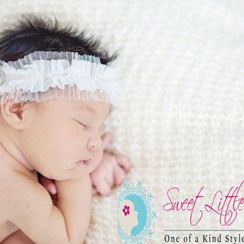 Off White Baby Headband - Newborn Photo Prop - Flower Girl Headband - Lace Halo Headband - Elegant Fancy Headband - Crown Pearls - Elastic