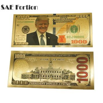 USA President Donald Trump Dollars Banknotes Paper Money Collections $1000 Banknotes Gold Foil Bill Currency Collection JNB9900
