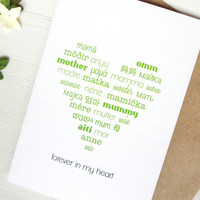 Mother's Day card mother in many languages lime green heart mom mum typography