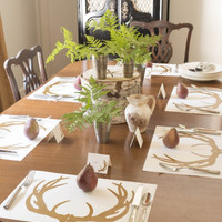 Lodge Style Antler Disposable Paper Placemats - Pad of 50