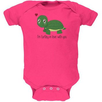 DCCKJY1 Turtle I'm Totally In Love With You Funny Pun Valentine's Day Soft Baby One Piece
