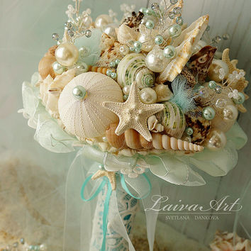 Beach Shell Bouquet Starfish Bouquet Beach Wedding Bouquet Seashell Wedding Bouquet