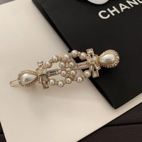 HCXX 19Sep 035 Pearl Double C Vintage Hair Clips Brooch
