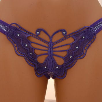 Sexy & Unique Purple Butterfly G-String Women's Lingerie Panty Thong