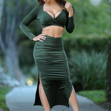 Green Cross-Wrap Crop Top High-Waist Slit Midi Set