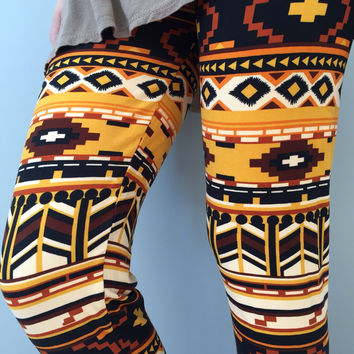 Golden Aztec Comfort Leggings