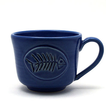 Cobalt Blue Fish Mug, Unique Coffee Mug, Fish Bones, Handmade Pottery Gifts for Men,  by MiriHardyPottery