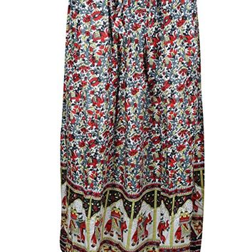 Mogul Interior Womans Bohemian Beach Skirt Stunner Elephant Print Flirty Long Skirts Small/Medium