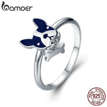 BAMOER Hot Sale 100% 925 Sterling Silver French Bulldog & Dog Bone Female Rings for Women Sterling Silver Jewelry Gift SCR321
