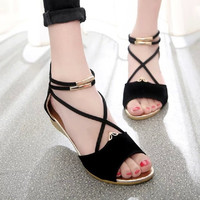 2016 Sandles Ladies Zip Open Toe Beach Shoes Sexy Red Women's Shoes Summer Cross Strap Flat Sandals Zapatos Mujer Sandalia