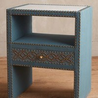 Nailhead Linen Nightstand by Anthropologie