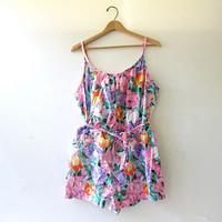 50s floral swimsuit // one piece bathing suit // floral romper swimming suit // Shorts Swimsuit // Pin Up Swimsuit