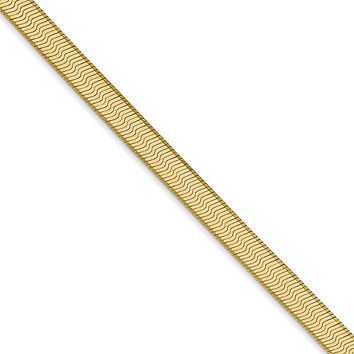 4mm, 14k Yellow Gold, Solid Herringbone Chain Necklace