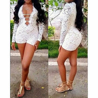 SEXY DEEP V LACE JUMPSUITS