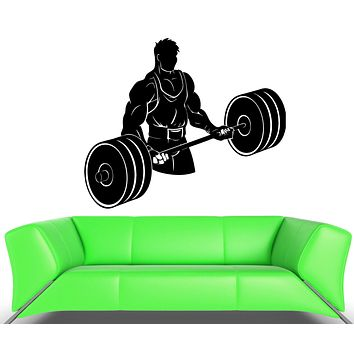Wall Decal Athlete Bodybuilding Powerlifting Weightlifting Vinyl Decal Unique Gift (ed357)