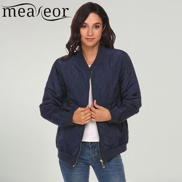 Trendy Meaneor Women Bomber Jacket Lightweight Long Sleeve Zip Up stripe Casual Quilted Pockets Warm 2017 Autumn Jacket Stand Collar AT_94_13