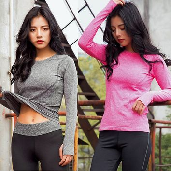 2017 New Arrival Women Gym Fitness Yoga Shirts Compression Shirts Long Sleeve Women's Sport Quick Dry Yoga Tops Camiseta #EW