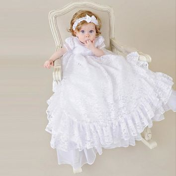 White Blessing Christening Gown With Headband Long Ruffles Exquisite Ethereal Antique Lace Couture