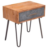 Industrial Metal End Table / Nightstand Antique