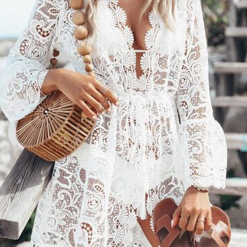 Lace V-Neck Dresses For Women Sexy Female Panelled Asymmetrical Clothing Summer Casual Long Sleeve Piping Apparel