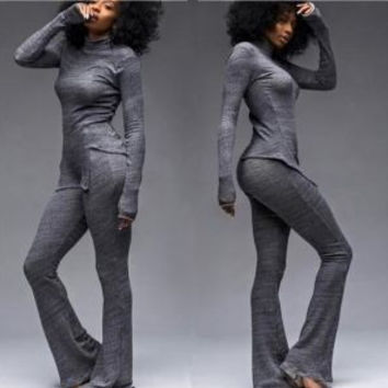 Dark Grey Turtleneck Asymmetric Pants Set