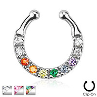 Multi Colored Gem Gay Pride Fake Non Piercing Septum Hanger