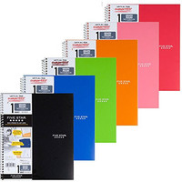 Five Star Spiral Notebook, Graph Ruled, 1 Subject, 8.5 x 11 Inches, 100 Sheets, Assorted Colors (06190), Pack Of 6