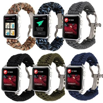 Soprt Nylon Loop Stainless Steel Watch Band iWatch Strap For Apple Watch 38/42mm FHJ1578/e16
