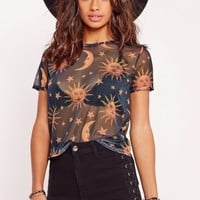 Missguided - Petite Exclusive Star Print Mesh T Shirt Black