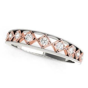 14K White Gold And Rose Gold Unique Diamond Wedding Band (1/10 ct. tw.)