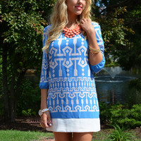 Picket Fences Blue Shift Dress