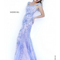 Sherri Hill Periwinkle Cap Sleeves Open Back Beaded