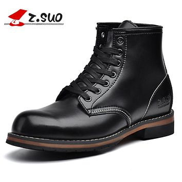 Leather Boots Men Autumn Lace-up Casual Ankle Boots Solid Men's Working Boots