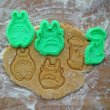 Totoro cookie cutters set. 3 cookie stamps in set. Studio Ghibli cookies. Totoro, O-Totoro, Chibi-Totoro cookie cutters