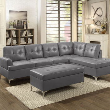 Home Elegance 8378GRY-2pc 2 pc barrington gray vinyl sectional sofa set chrome modern legs
