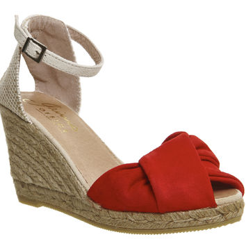 Gaimo for OFFICE Home Wrap Front Wedge Red Natural Suede - Mid Heels
