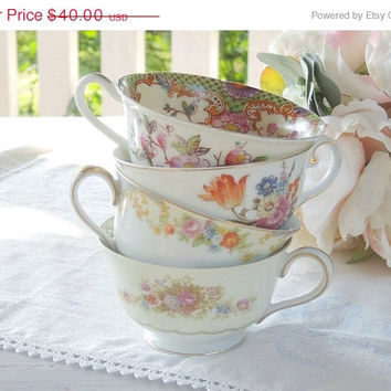 On Sale Vintage Mismatched Tea Cups Set of 4, Shabby Chic, Tea Party Shabby Cottage Made in Japan 1930's Noritake Bridesmaid Gifts