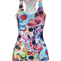Women's Summer Colorful Skull Digital Printed Sleeveless T Shirt Vest Tank Tops