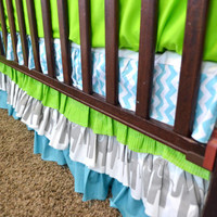 Custom Ruffled Crib Skirt or Dust Ruffle, with Elephants and Lime Green, Gray, and Blue Fabrics, Made to Order
