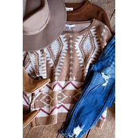 Mesa Verde Tribal Printed Sweater, Camel