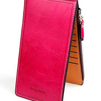 Womens RFID Blocking Leather Multi Card Organizer Thin Wallet with Zipper Pocket