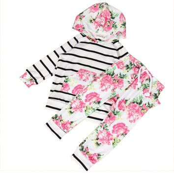 2017 Newborn Baby Kids Girls Clothes Set Floral Hooded Striped Long Sleeve Tops Long Pants Outfits Girl Children Clothing 2PCs