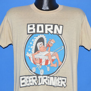 70s Born Beer Drinker Baby Carriage t-shirt Medium