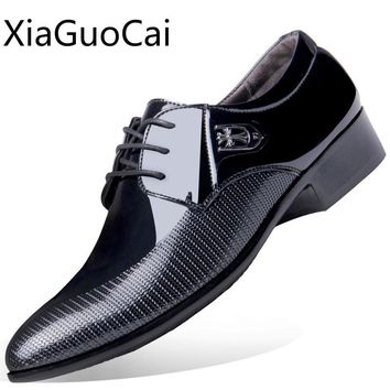 Pointed Toe New Arrival Men Leather Dress Shoes Formal Flats Lace Up